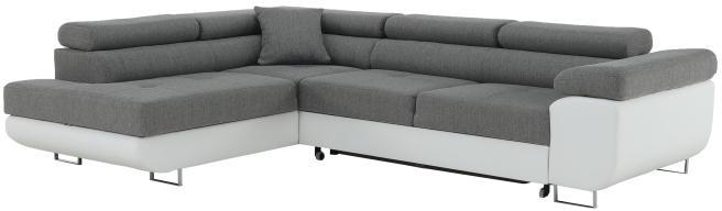 Rohová sedacia súprava, biela/sivá, ľavá, AMARETO NEW