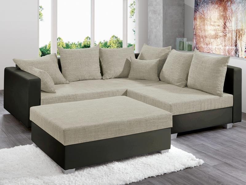 Rohová sedacia súprava s taburetom Twist, hnedá ekokoža/béžová tkanina