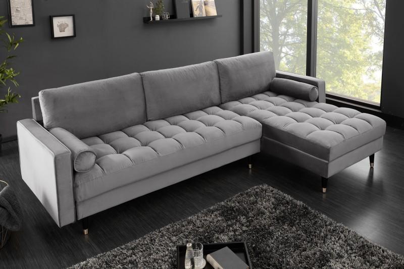 Rohová sedačka Adan II 260 cm sivý zamat