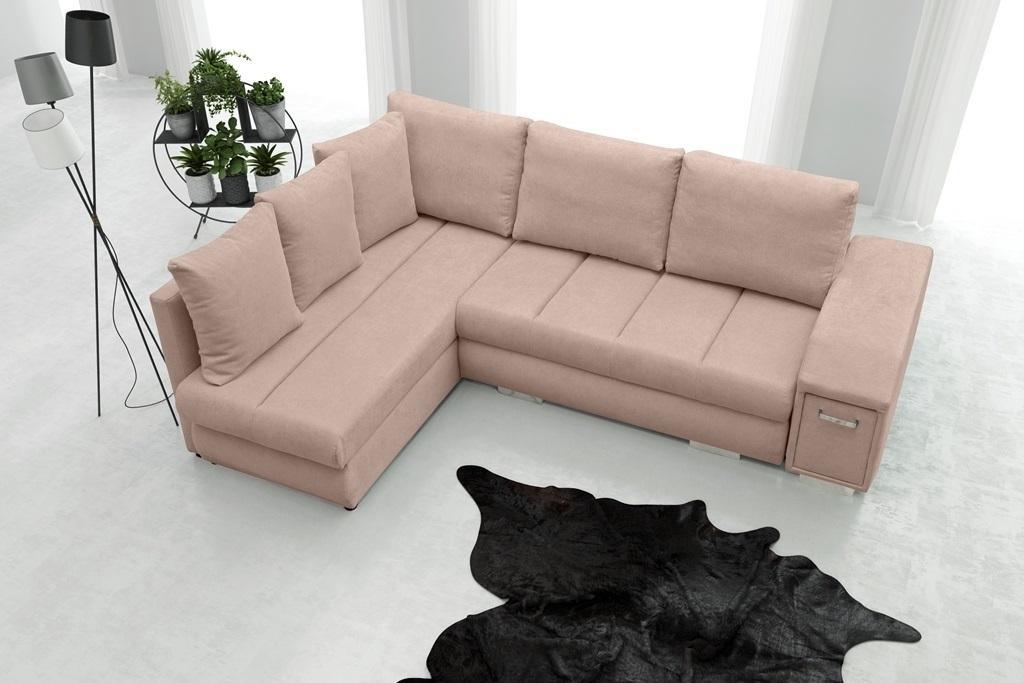 Rohová sedačka Arlene (ružová) (L)
