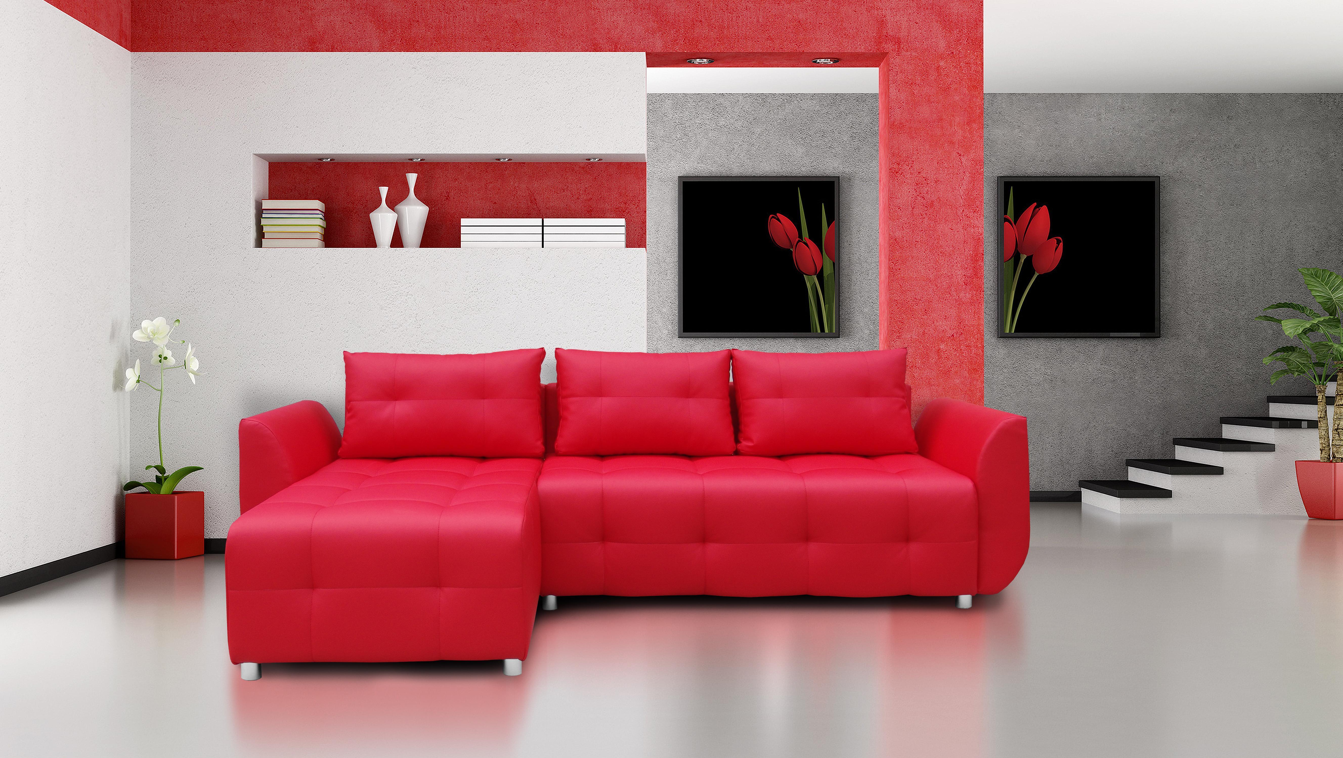 Rohová sedačka - Brayton (červená). Akcia -31%.