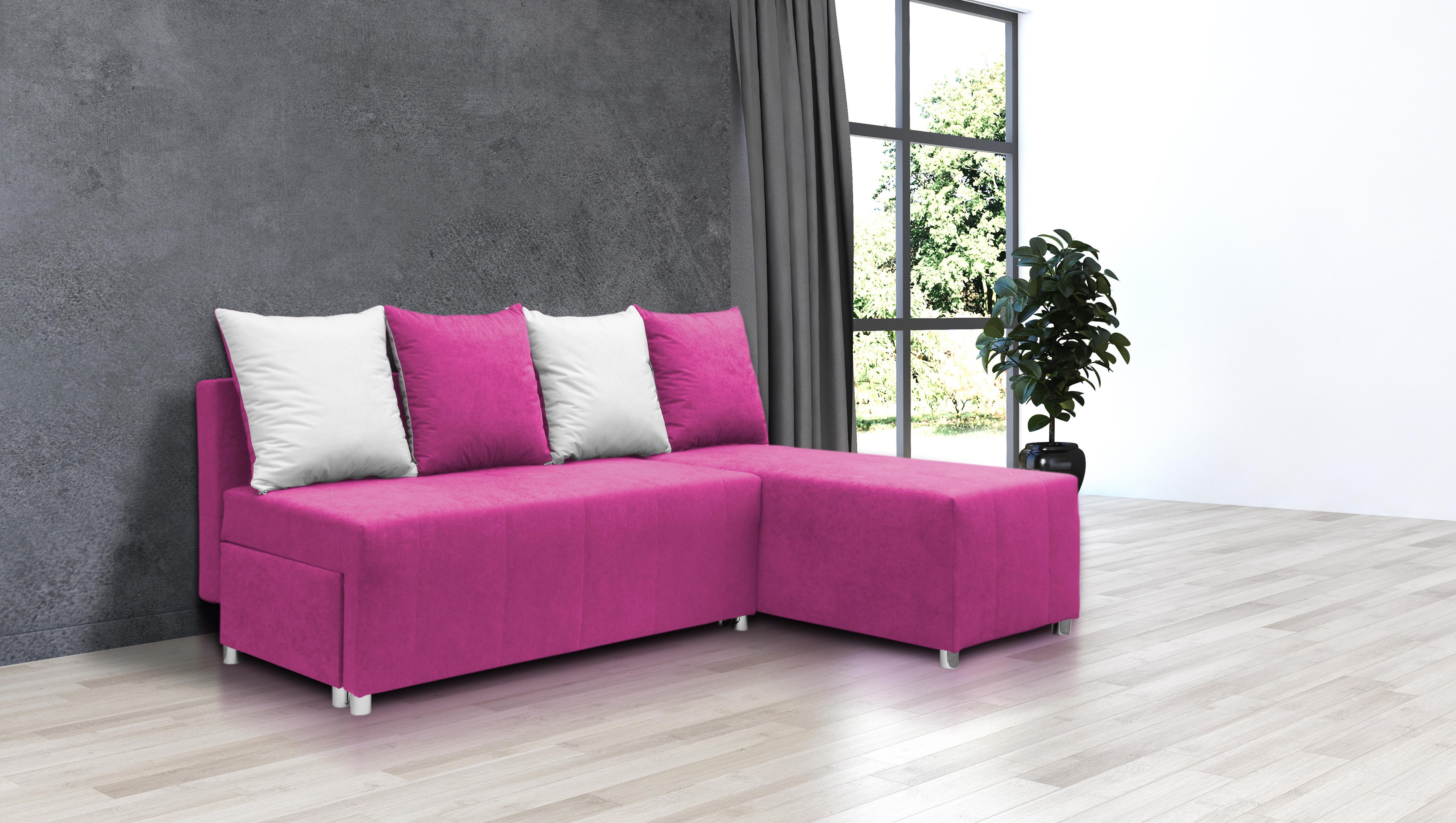 Rohová sedačka Briston (ružová + vankúše)