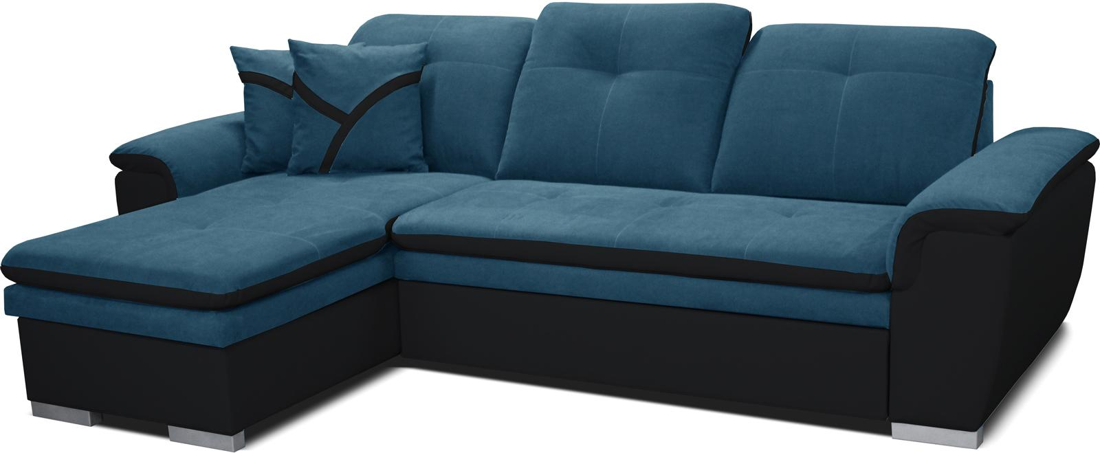Rohová sedačka Estevan L+2F (tyrkysová + čierna) (L)