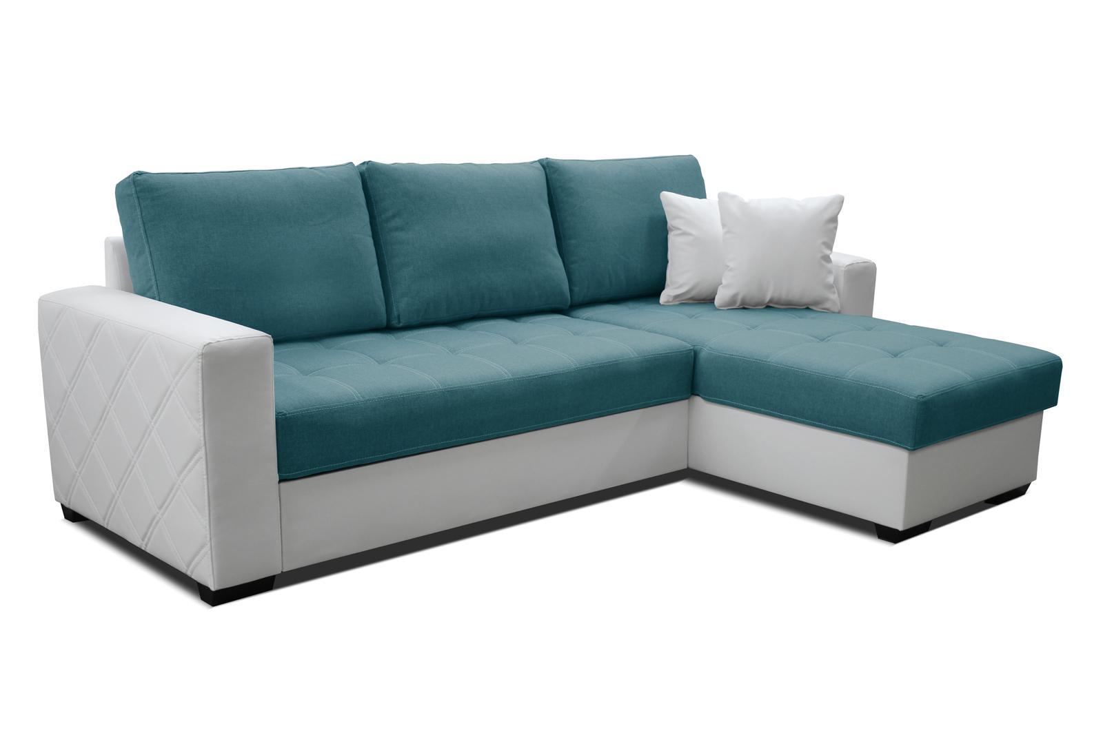 Rohová sedačka Faro 2F+L (tyrkysová + biela) (P)