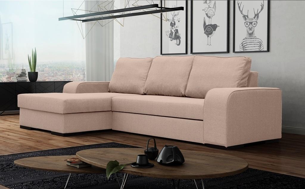 Rohová sedačka Fonda (ružová) (L)