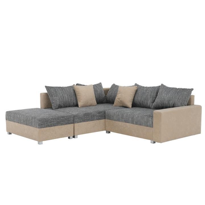 Rohová sedačka Idium New béžová + sivá (s taburetkou) (L)