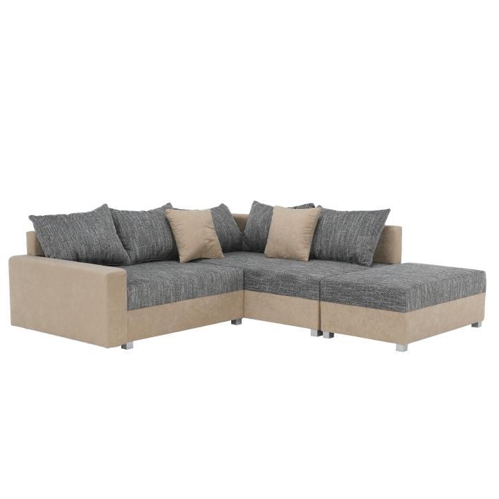 Rohová sedačka Idium New béžová + sivá (s taburetkou) (P)