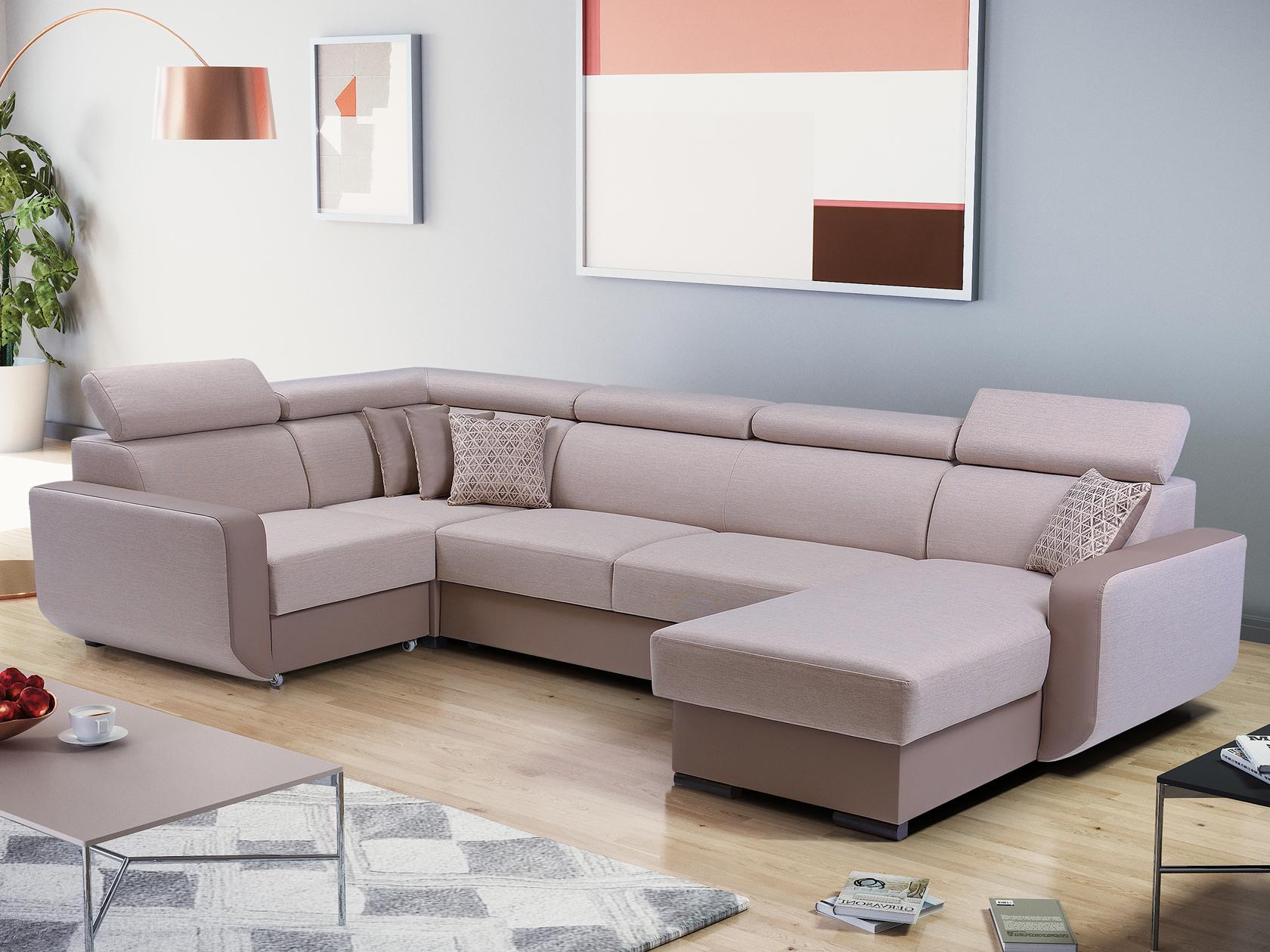 Rohová sedačka - Istar U (béžová + svetlohnedá) (L). Akcia -33%
