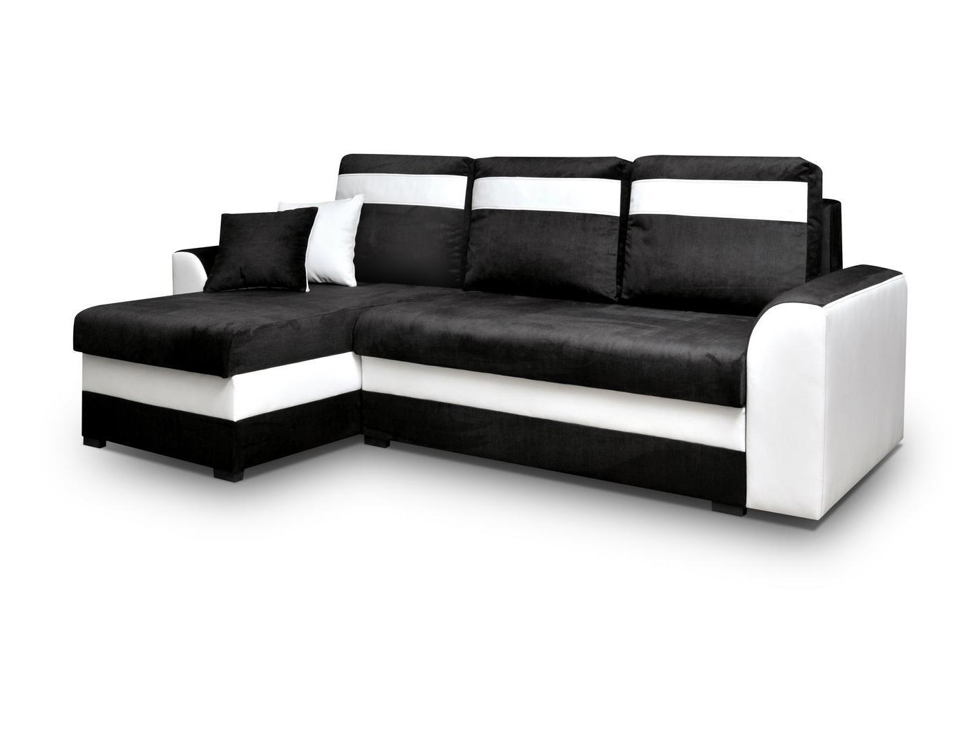 Rohová sedačka - Madlyn (čierna + biela) (L). Akcia -33%.