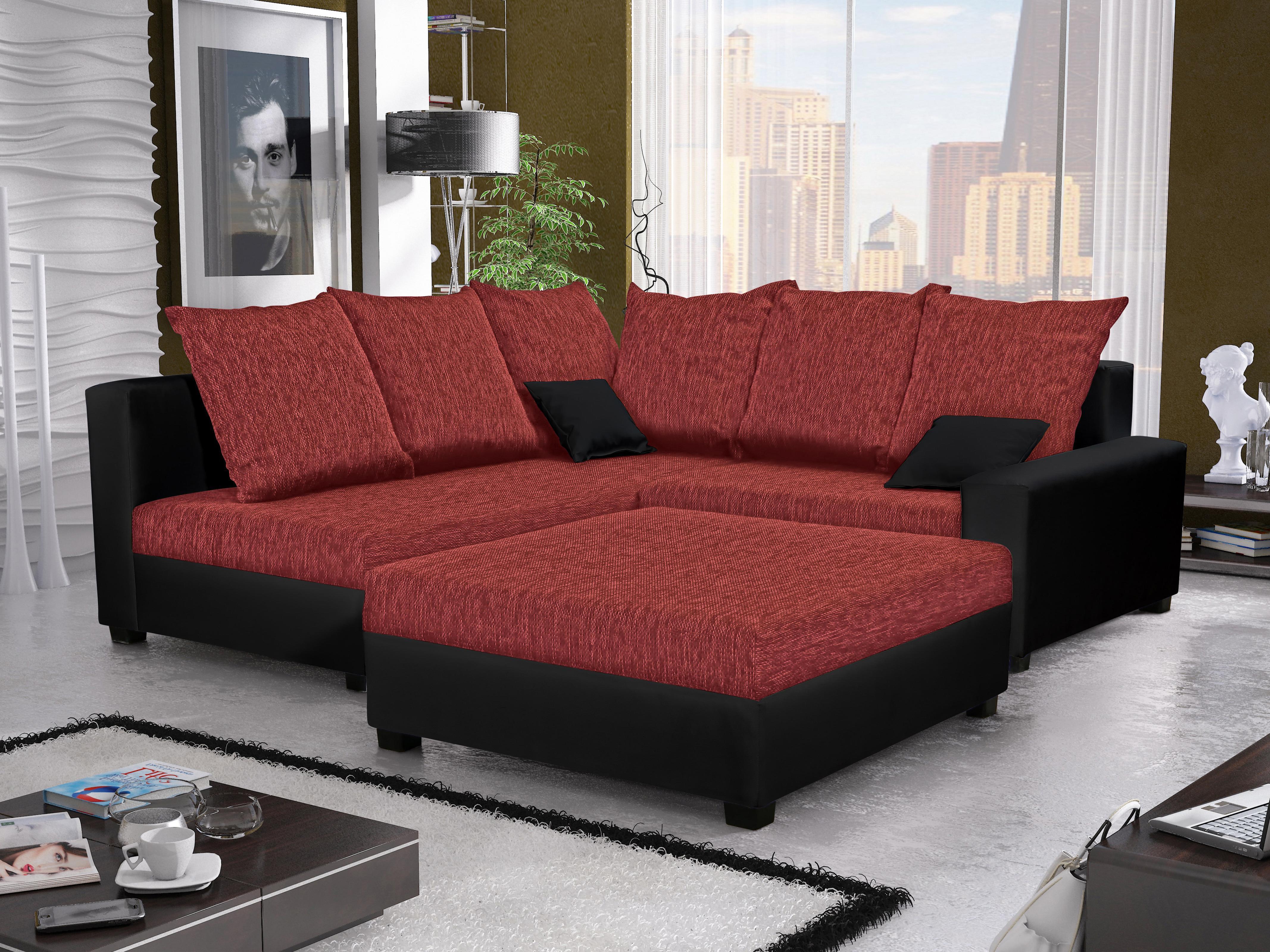 Rohová sedačka Monarda (červená + čierna) (s taburetkou) (L)