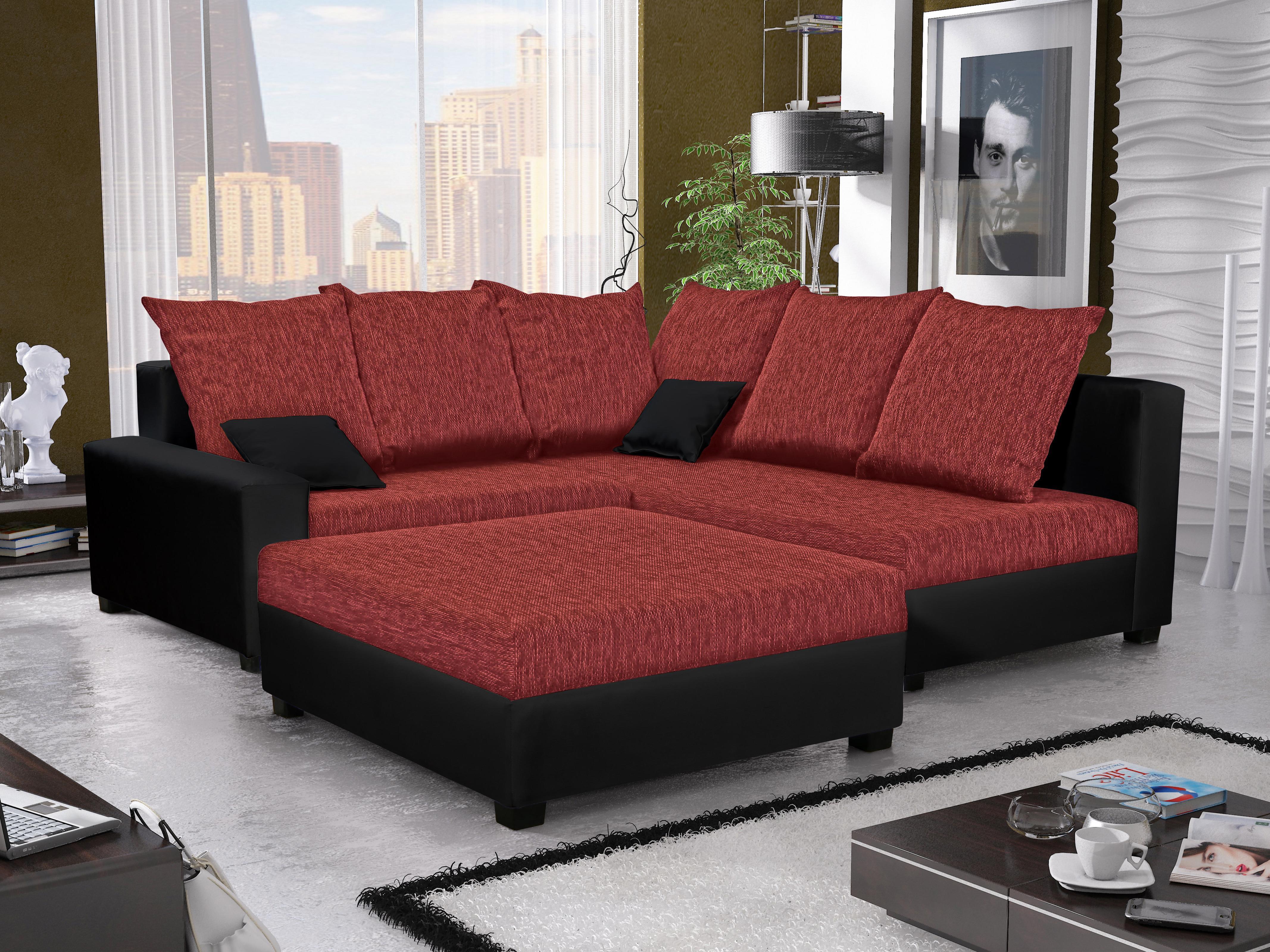 Rohová sedačka Monarda (červená + čierna) (s taburetkou) (P)
