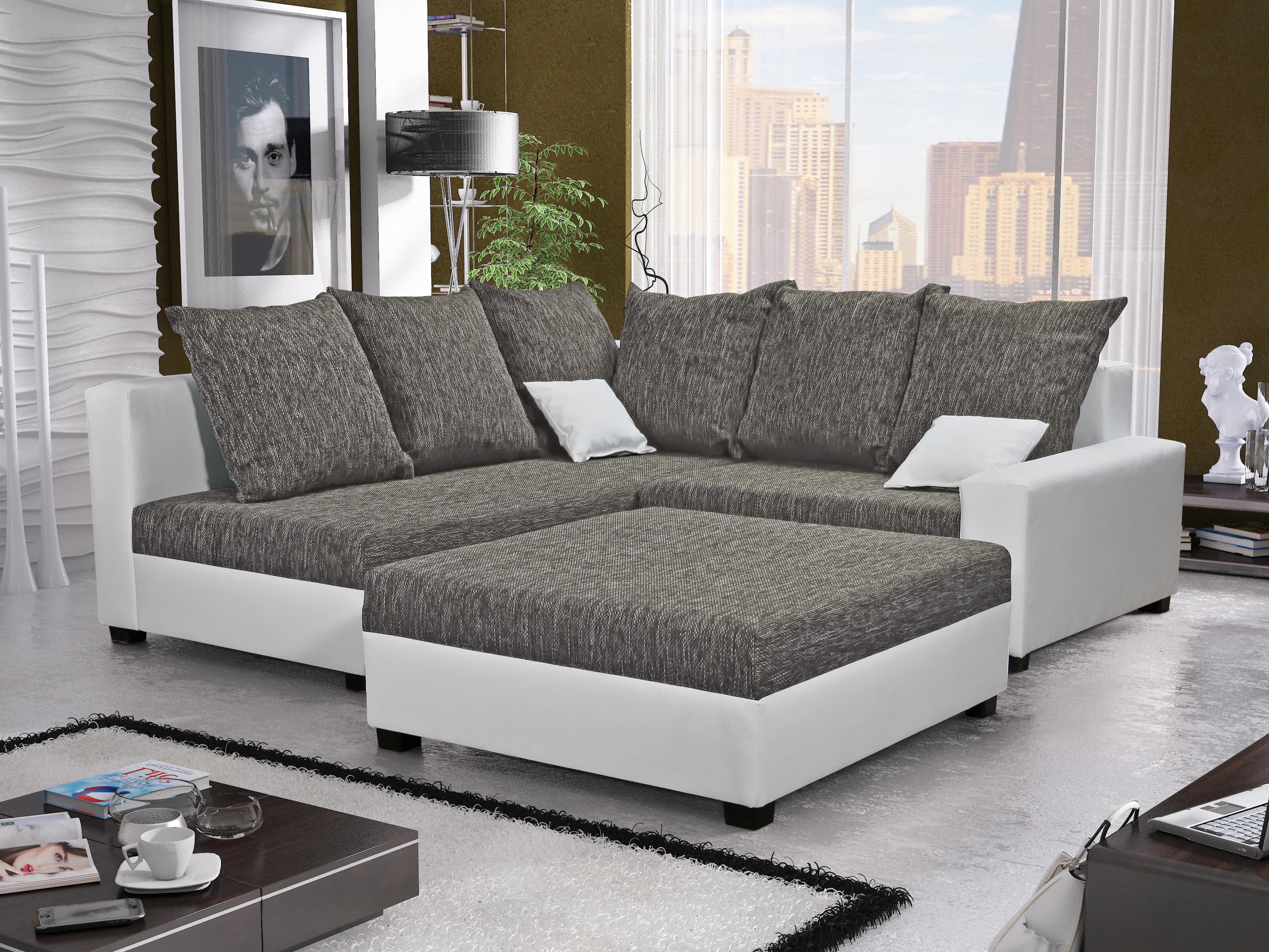 Rohová sedačka Monarda (sivá + biela) (s taburetkou) (L)