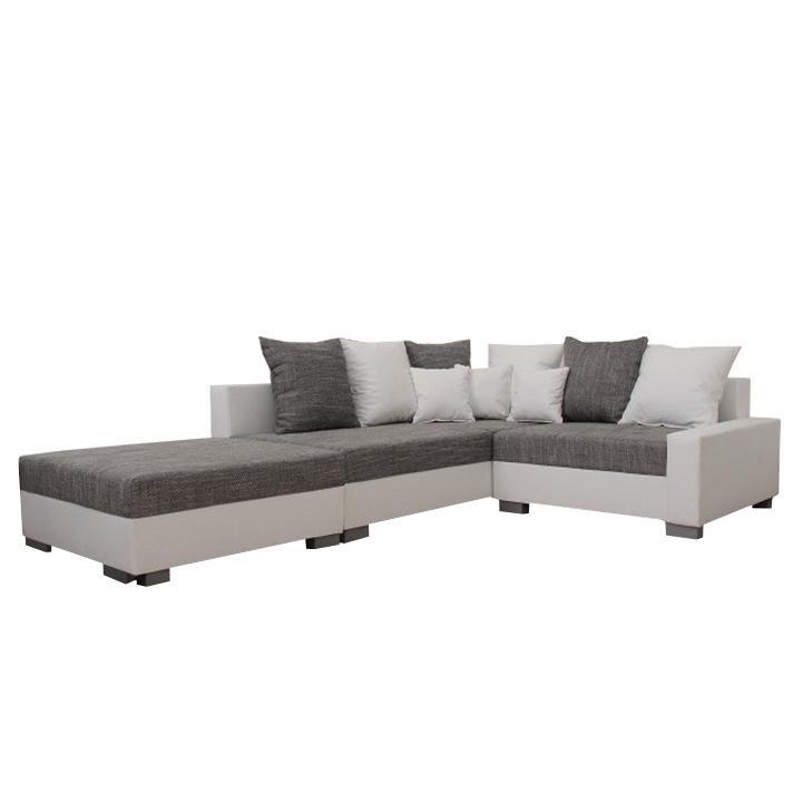 Rohová sedačka Pitton New biela + šedá (L) (s taburetkou)