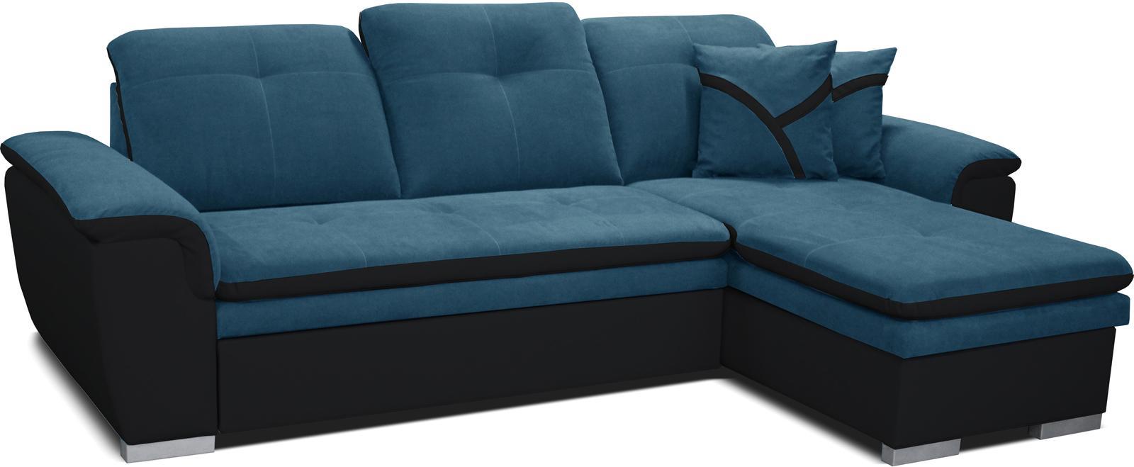 Rohová sedačka Estevan 2F+L (tyrkysová + čierna) (P)