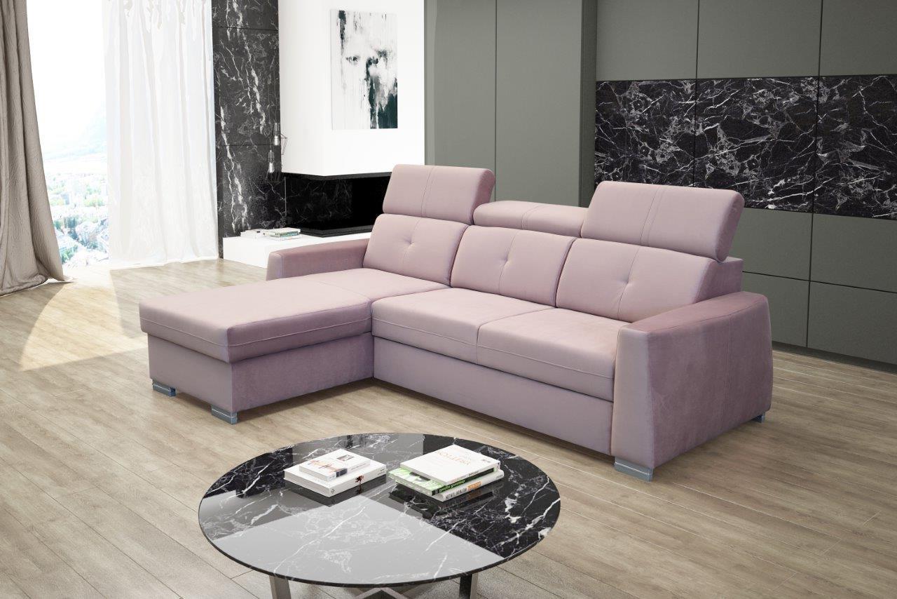 Rohová sedačka Roxi (ružová) (L)