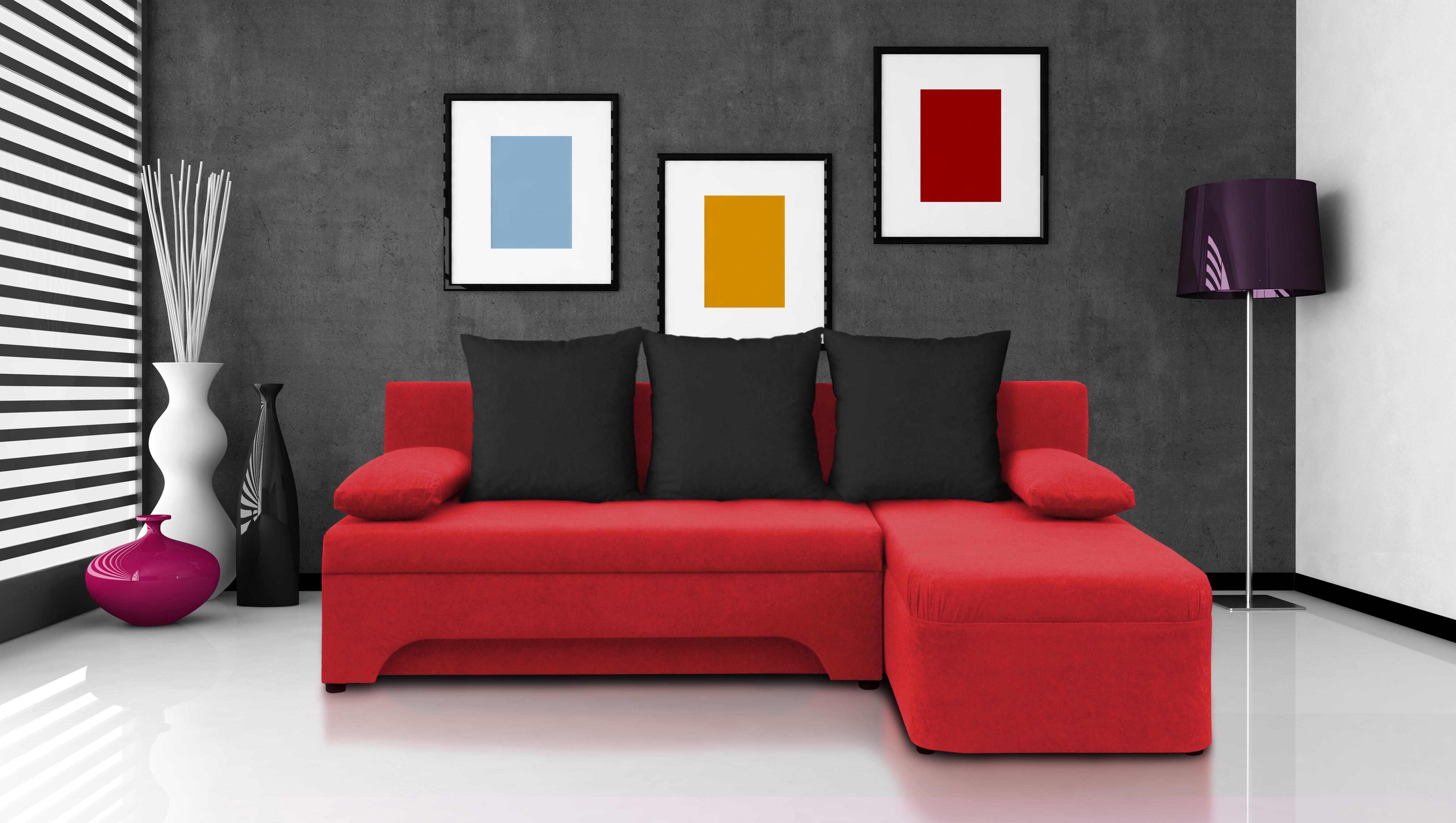Rohová sedačka - Saline - červená + čierne vankúše - (2 úložné priestory, pena). Akcia -30%.