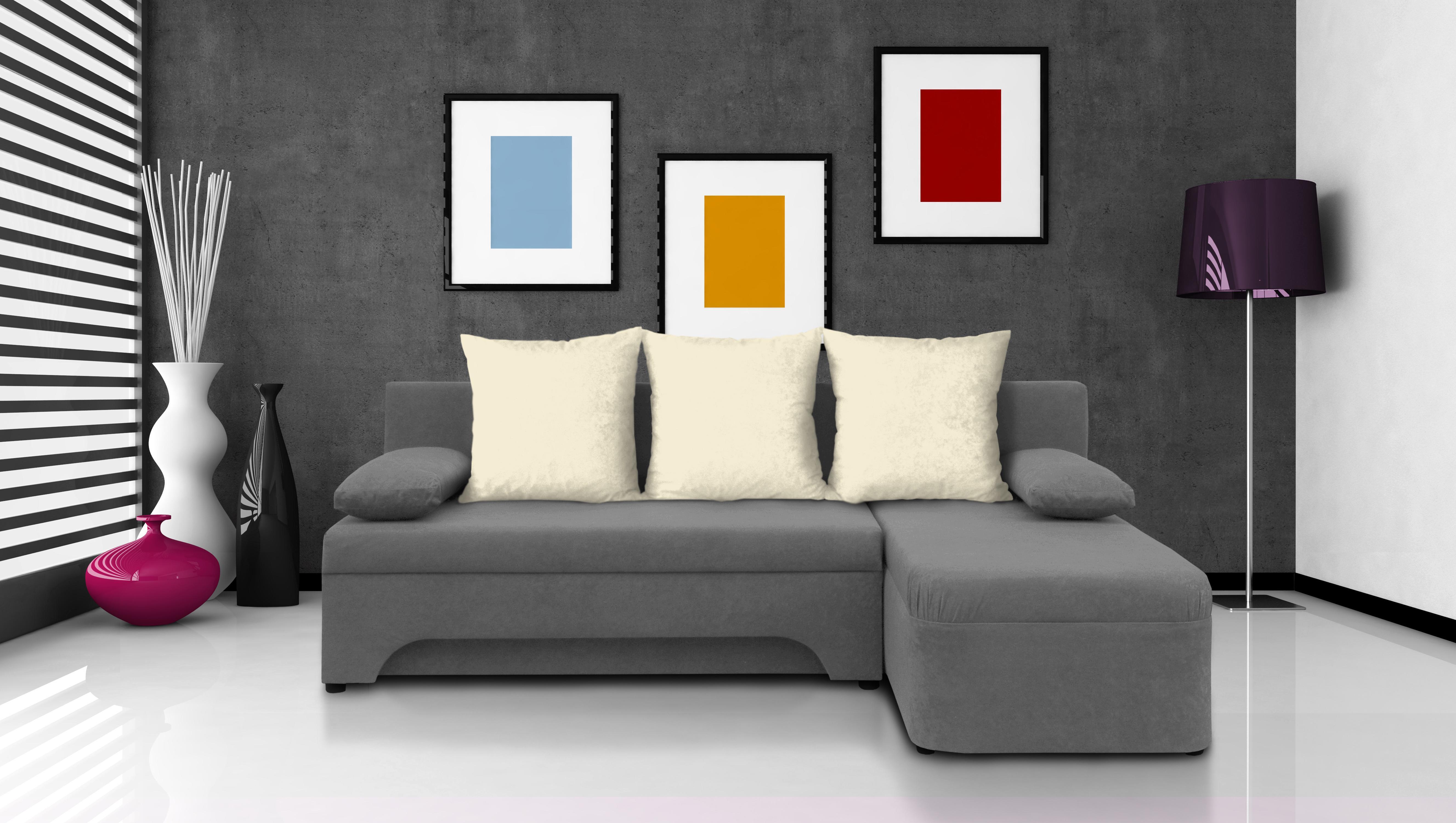 Rohová sedačka - Saline - sivá + krémové vankúše - (2 úložné priestory, pena). Akcia -30%.