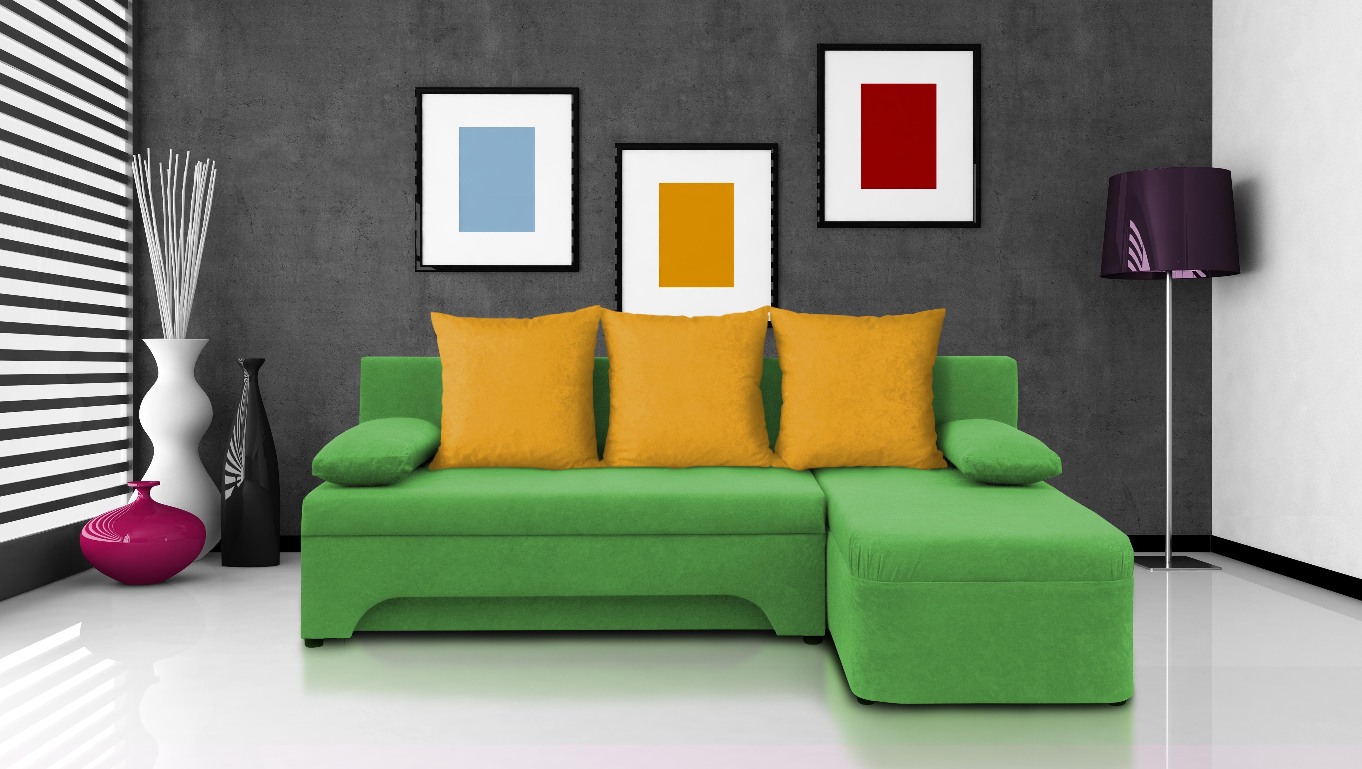 Rohová sedačka Saline zelená + žlté vankúše (2 úložné priestory, pena)