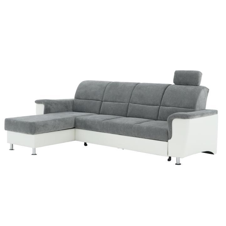 Rohová sedačka Stan malá (biela + sivá) (L)
