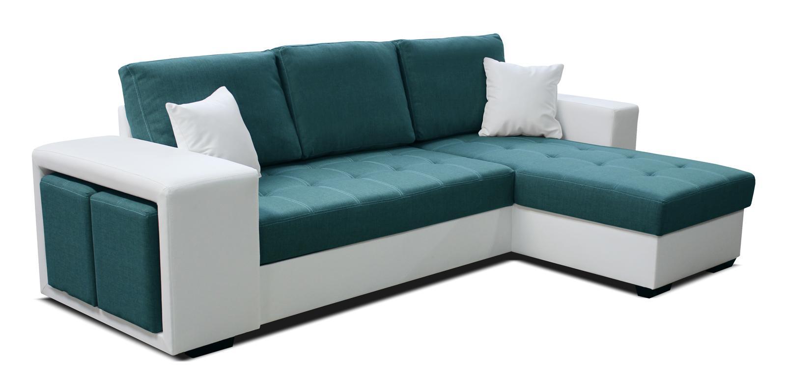Rohová sedačka Thema Lux 2F+L (tyrkysová + biela) (P)