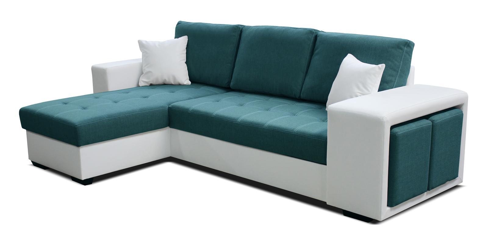 Rohová sedačka Thema Lux L+2F (tyrkysová + biela) (L)