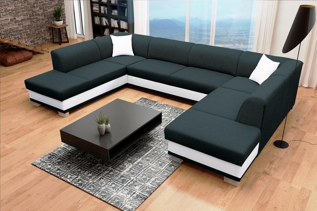 Rohová sedačka U Darcia (čierna+biela) (P)