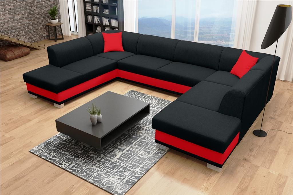 Rohová sedačka U Darcia (čierna+červená) (L)