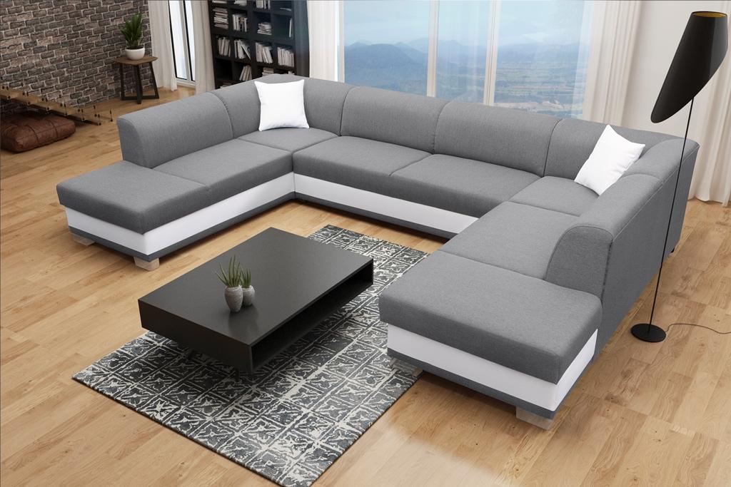 Rohová sedačka U Darcia (sivá+ biela) (P)
