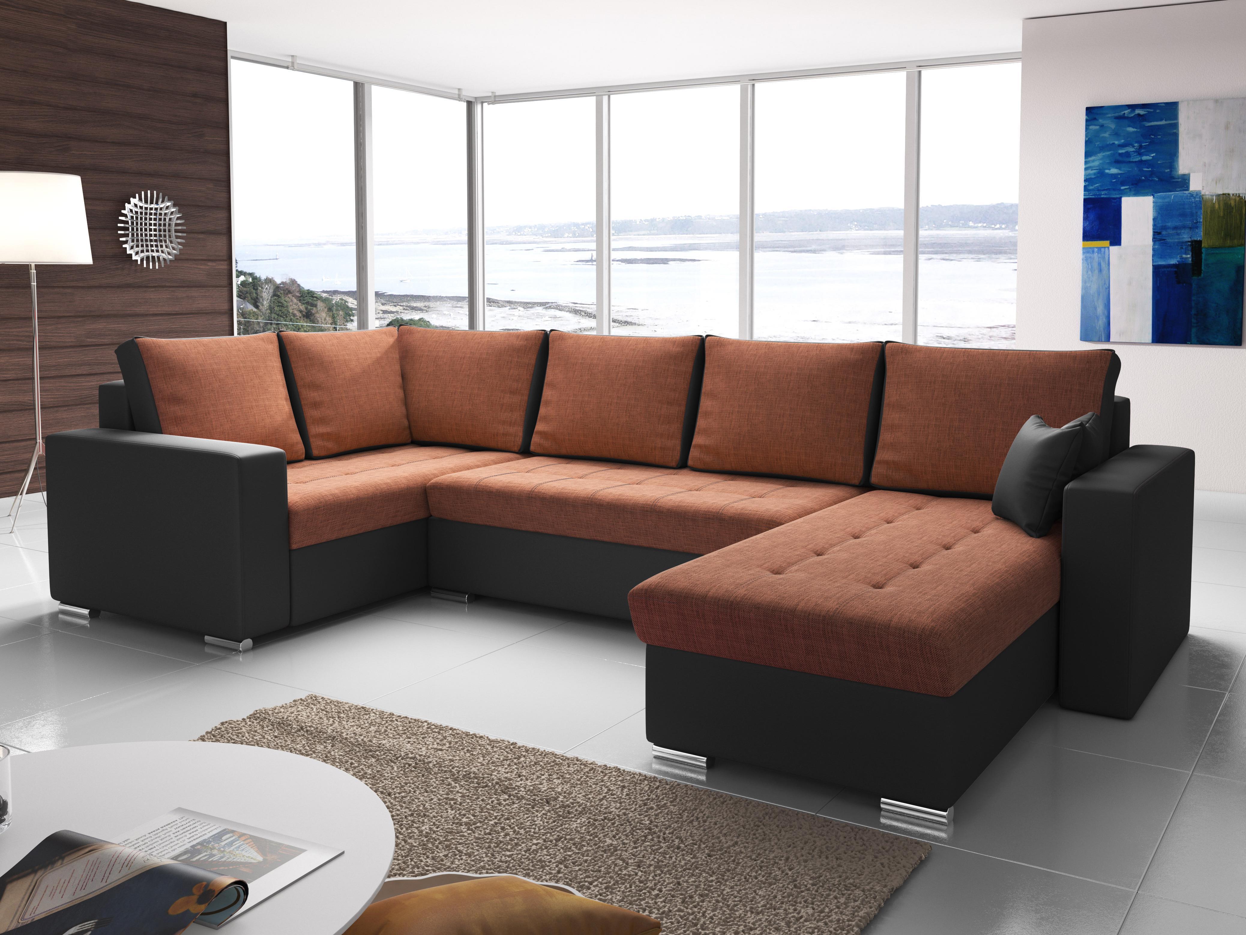 Rohová sedačka U Lambert (oranžová + čierna) (L)