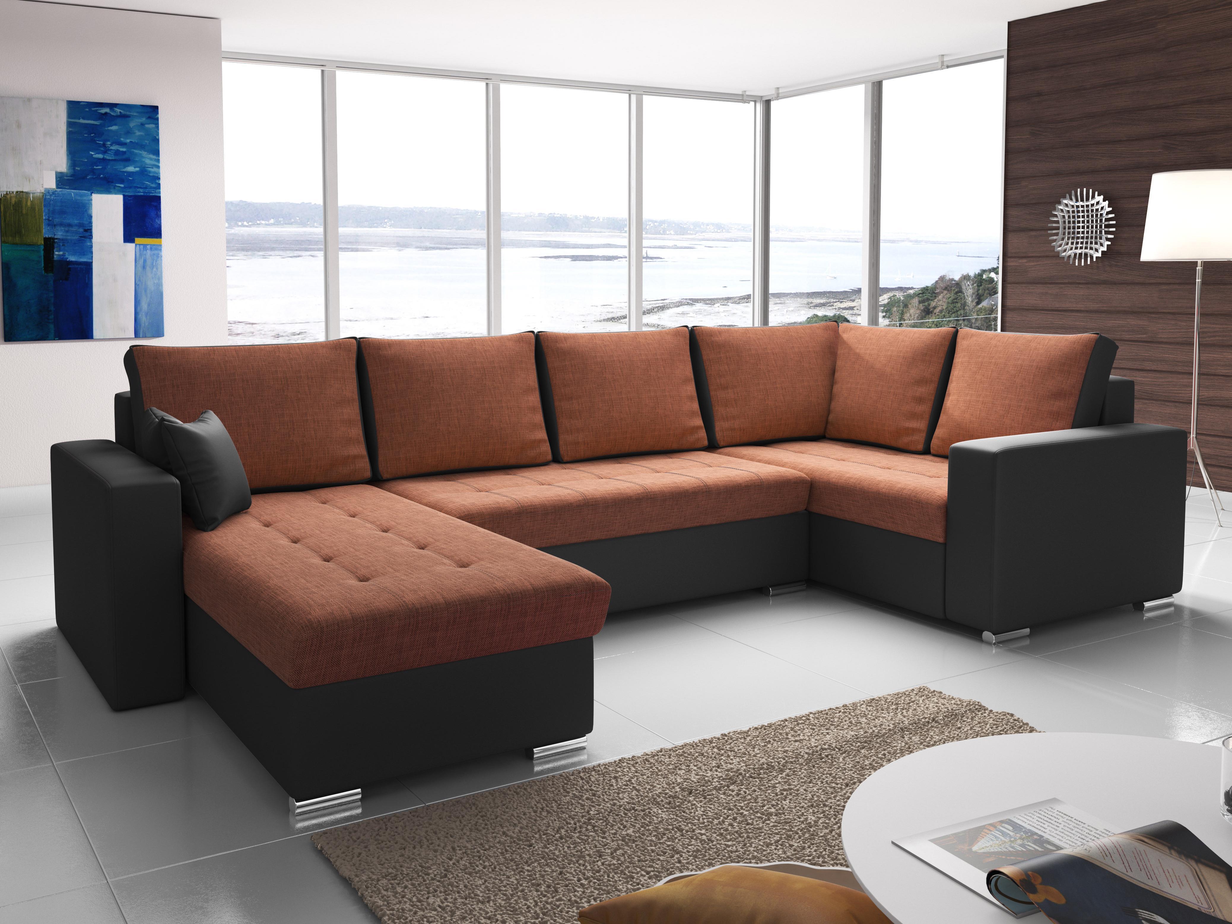 Rohová sedačka U Lambert (oranžová + čierna) (P)