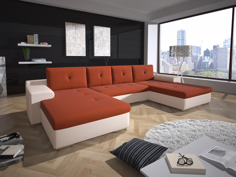 Rohová sedačka U Marlon (oranžová + biela) (L)