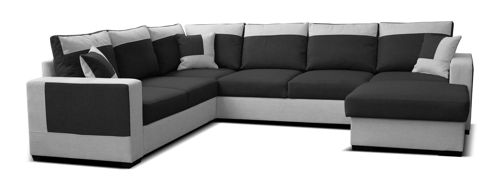 Rohová sedačka U Mega 2+A+2F+L (čierna + sivá) (P)
