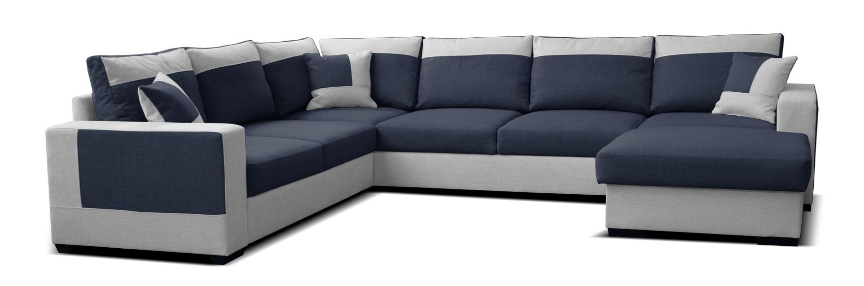 Rohová sedačka U Mega 2+A+2F+L (modrá + sivá) (P)