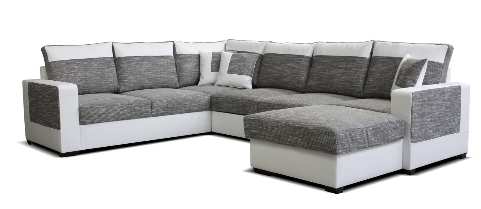 Rohová sedačka U Mega 2+A+2F+L (sivá + biela) (P)