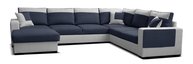 Rohová sedačka U Mega L+2F+A+2 (modrá + sivá) (L)