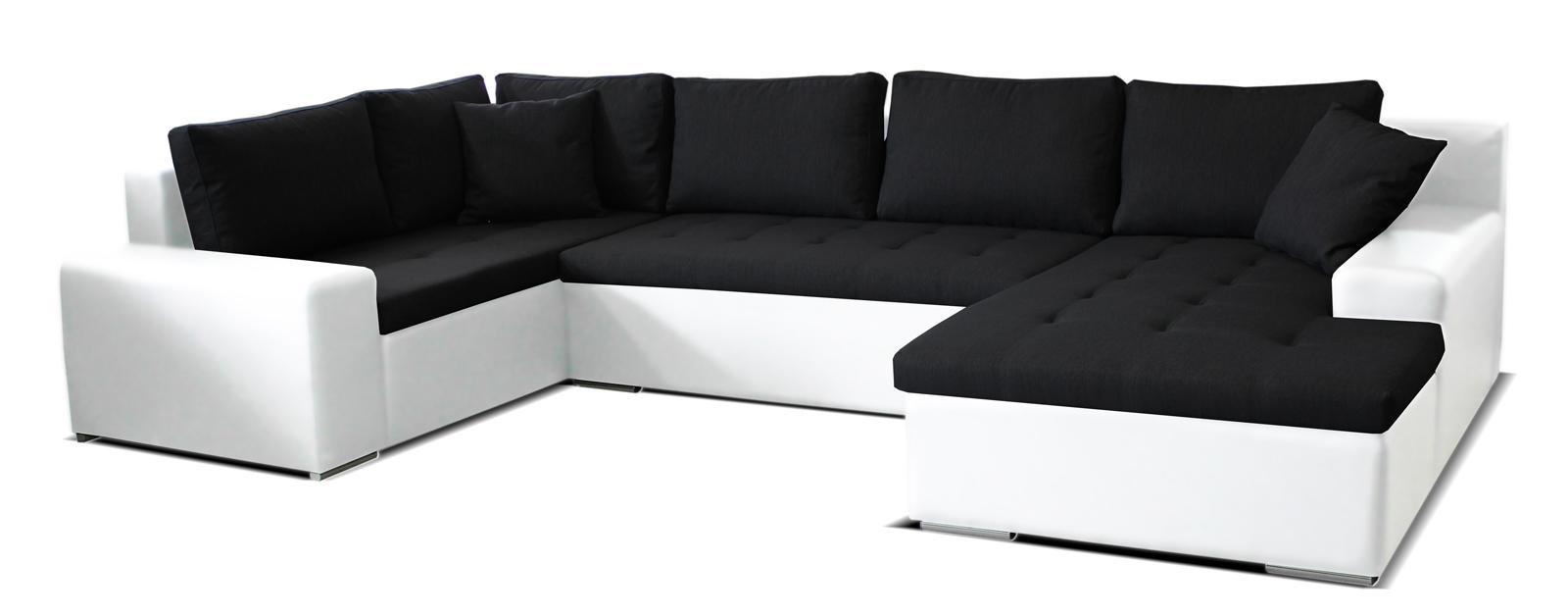 Rohová sedačka U Moreno BL+2+L (čierna + biela) (P)
