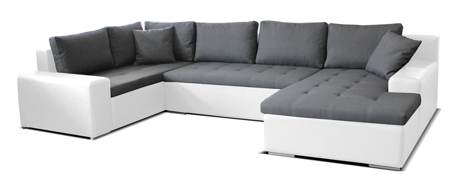 Rohová sedačka U Moreno BL+2+L (sivá + biela) (P)