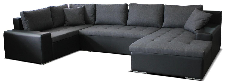Rohová sedačka U Moreno BL+2+L (sivá + čierna) (P)