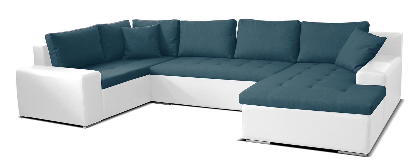 Rohová sedačka U Moreno BL+2+L (tyrkysová + biela) (P)