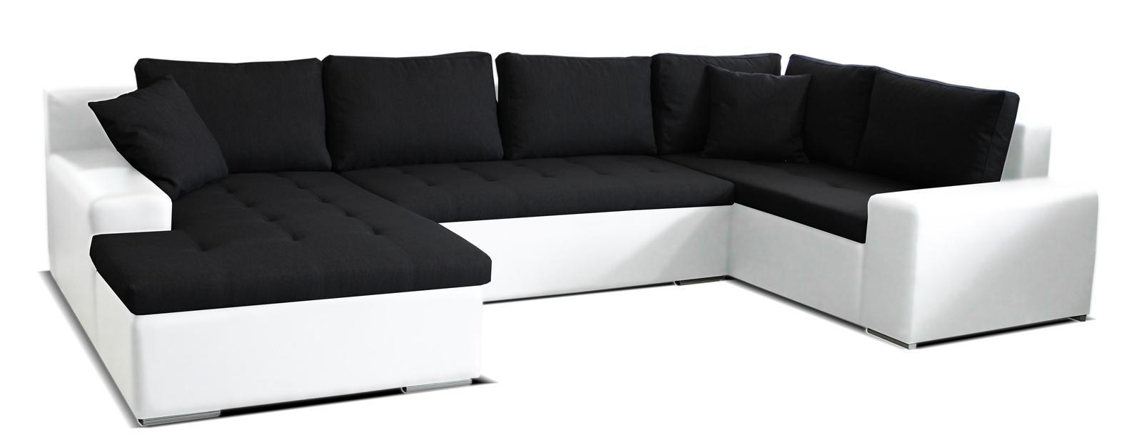 Rohová sedačka U Moreno L+2+BL (čierna + biela) (L)
