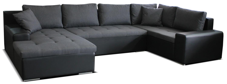Rohová sedačka U Moreno L+2+BL (sivá + čierna) (L)