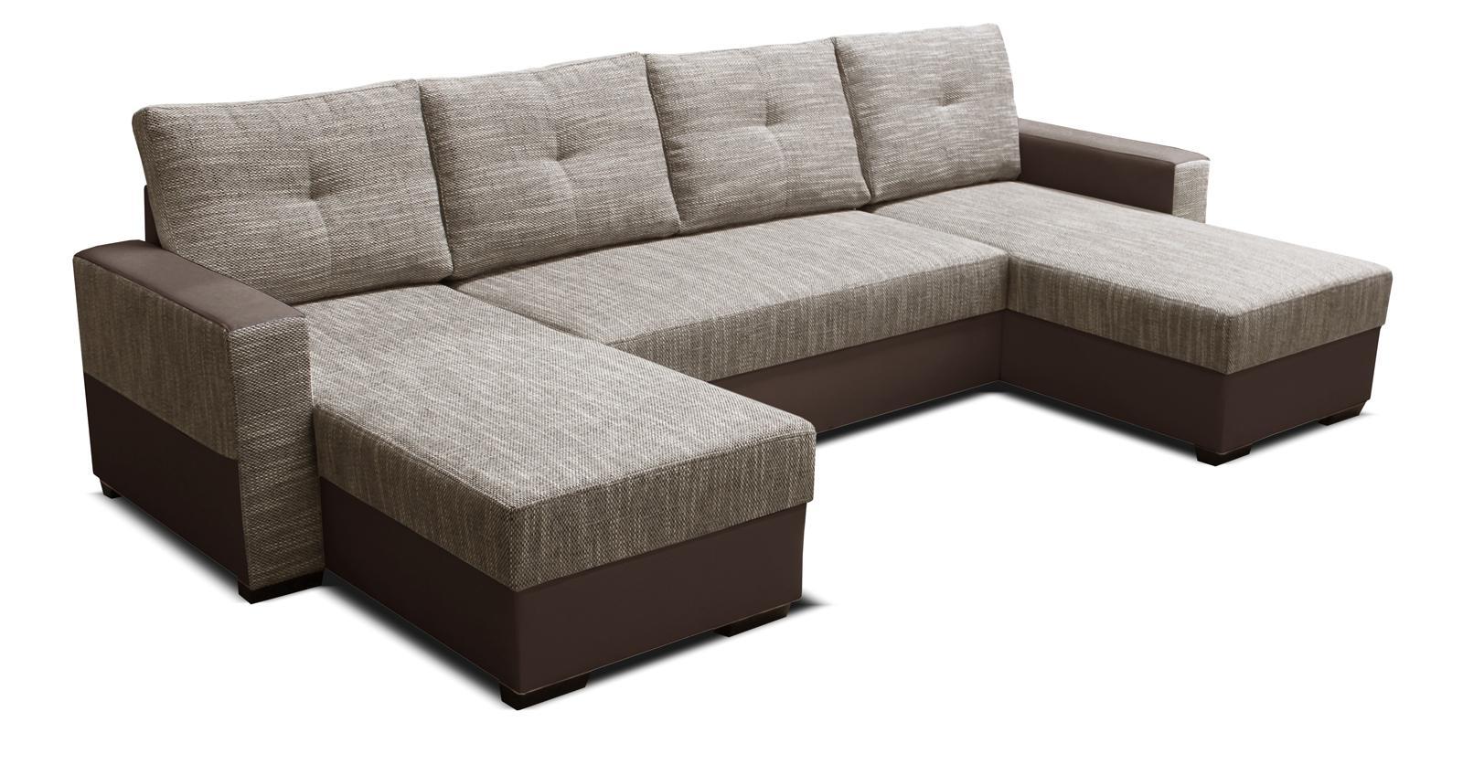 Rohová sedačka U - Po-Sed - Arenna L+2+L (s taburetkou) (béžová + hnedá) (L). Akcia -18% Sme autorizovaný predajca Po-Sed.