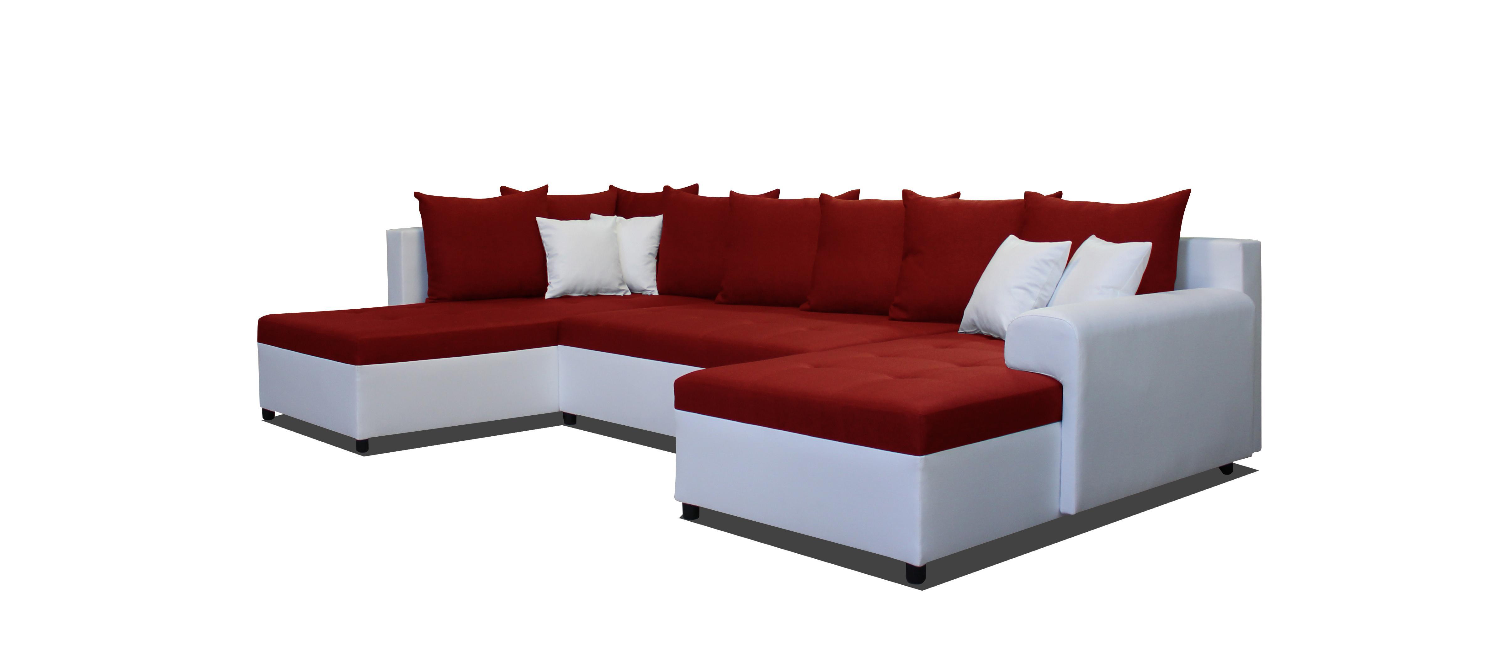 Rohová sedačka U - Po-Sed - Lisbona LB+2F+L (červená + biela) (P). Akcia -14% Sme autorizovaný predajca Po-Sed.