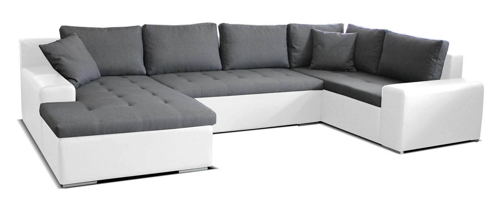 Rohová sedačka U Moreno L+2+BL (sivá + biela) (L)