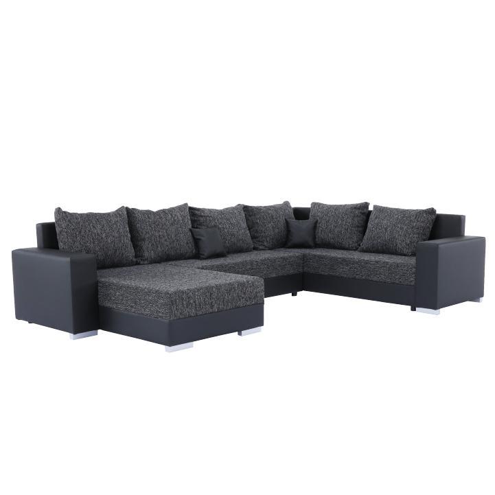 Rohová sedačka U Sergio (čierna + tmavošedá) (P)