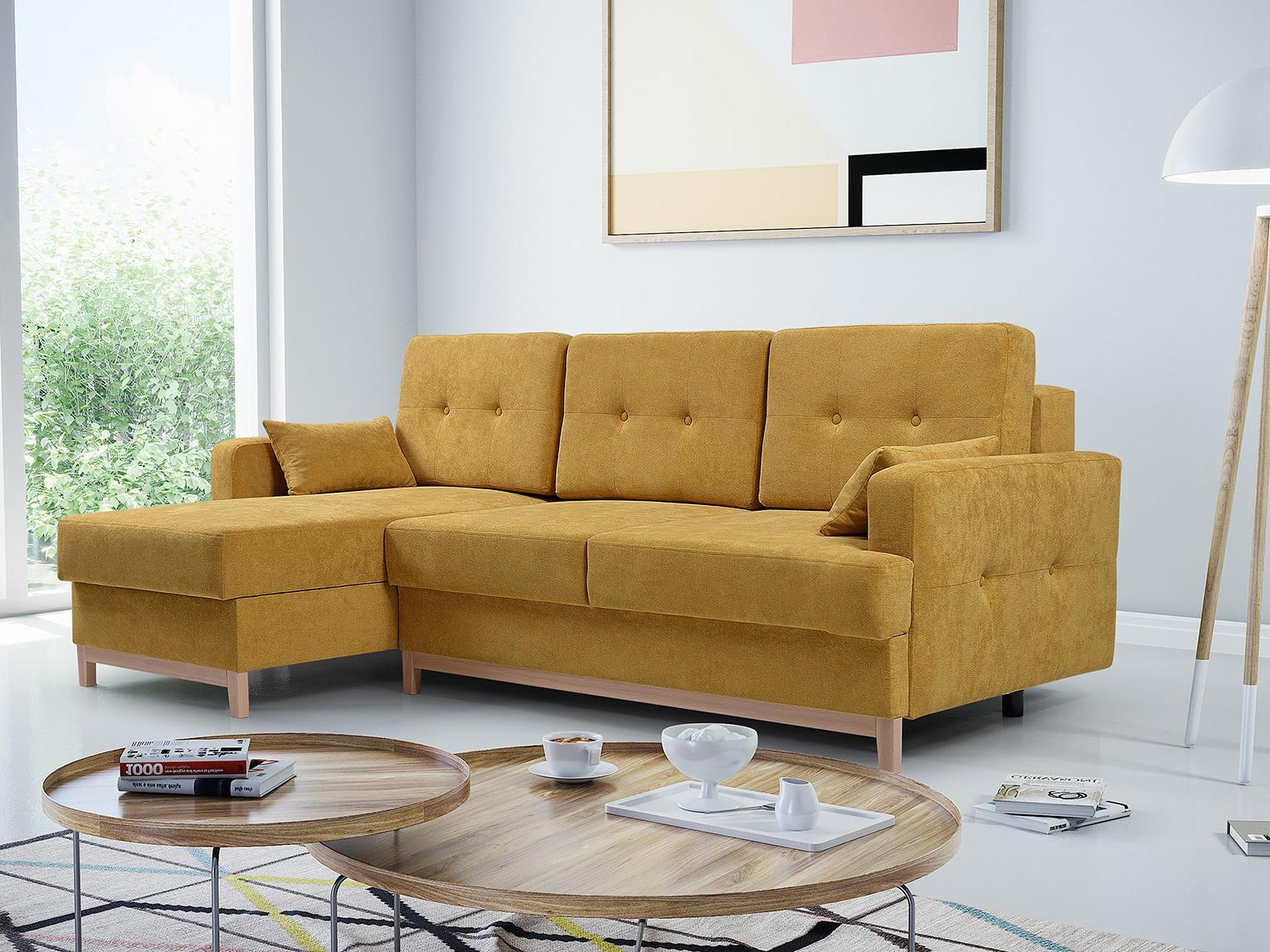 Rohová sedačka Zaron (žltá) (L)
