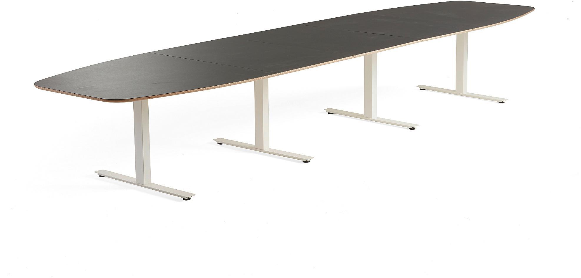 Rokovací stôl Audrey, 4800x1200 mm, biely podstavec, tmavošedá doska
