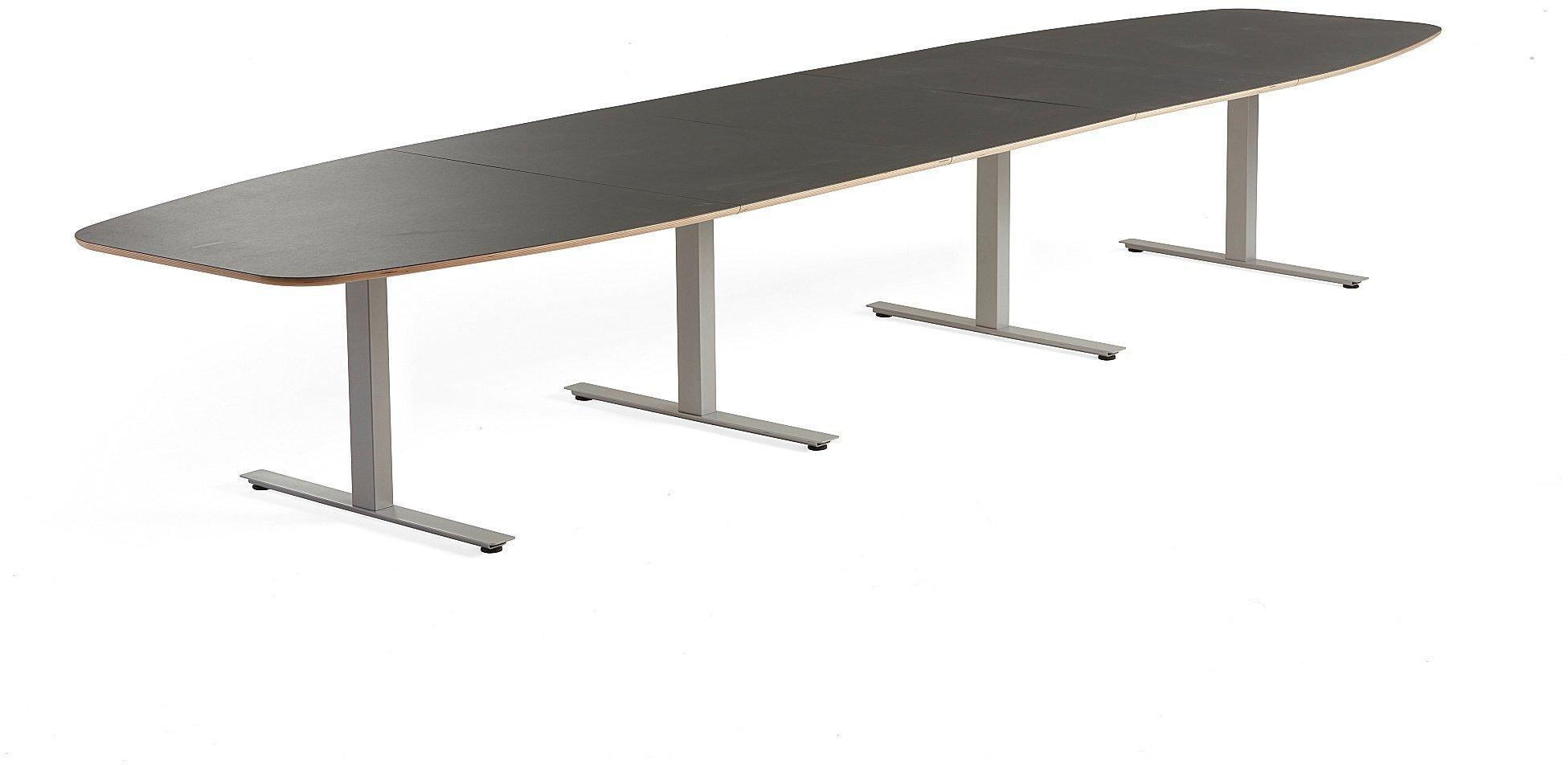 Rokovací stôl Audrey, 4800x1200 mm, strieborný podstavec, tmavošedá doska