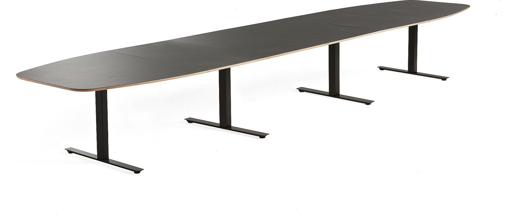 Rokovací stôl Audrey, 5600x1200 mm, čierny podstavec, tmavošedá doska
