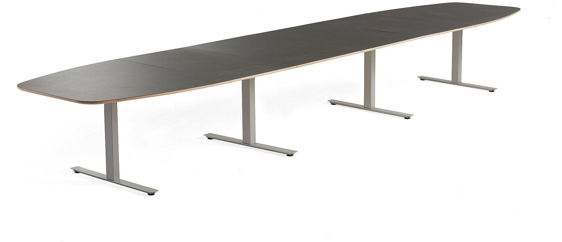 Rokovací stôl Audrey, 5600x1200 mm, strieborný podstavec, tmavošedá doska